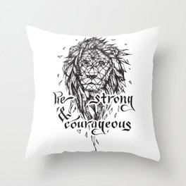 Be Strong & Courageous, Geometric Lion Throw Pillow