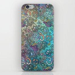 Pastel  Turquoise watercolor  OM symbol pattern iPhone Skin