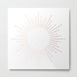 Sunburst Moon Dust Bronze on White Metal Print