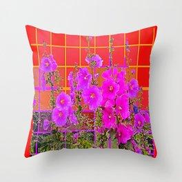 Red Garden Lattice with Fuchsia-Purple-Pink Flowers   Throw Pillow