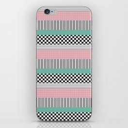 Pink and Teal Striped Pattern iPhone Skin