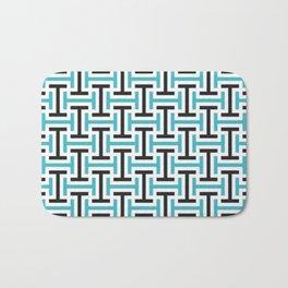 Geometric Pattern 212 (teal black) Bath Mat