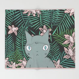Cat with Palm Tree Leaves Throw Blanket