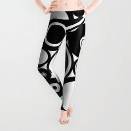 Retro Black White Circles Pop Art Leggings