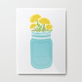 Geometric Mason Jar with Flowers Metal Print