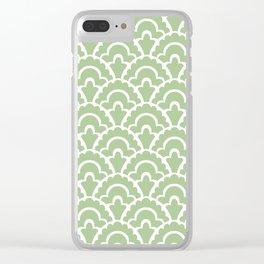 Fan Pattern Nile Green 113 Clear iPhone Case