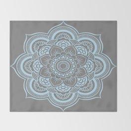 Mandala Flower Gray & Baby Blue Throw Blanket