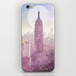 I LOVE PINK NEW YORK CITY SKYLINE - Full Moon Universe iPhone Skin
