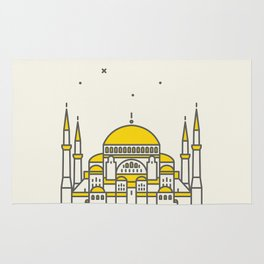 Hagia Sophia icon and vector. City travel landmark, tourist attractions in Istanbul Rug
