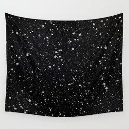 Glitter Stars2 - Silver Black Wall Tapestry