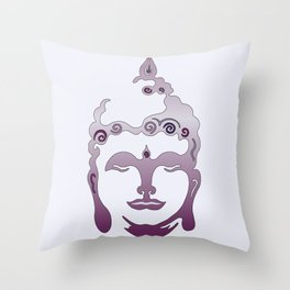 Buddha Head violet - grey Throw Pillow