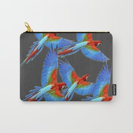 FLOCK OF BLUE MACAWS ON CHARCOAL Carry-All Pouch