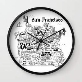 San Francisco Map Illustration Wall Clock