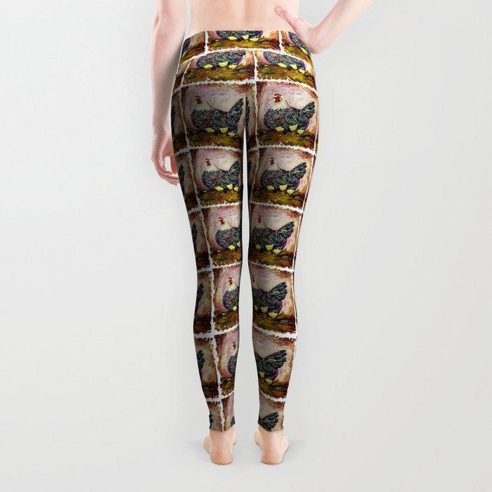 Blue Hen With Chicks Transparent Leggings
