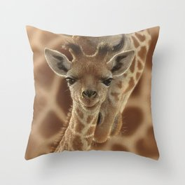 Giraffe Baby - New Born Throw Pillow