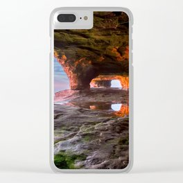 Sea Cave Sunset on Lake Superior Clear iPhone Case