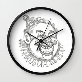 Vintage Circus Clown Head Doodle Wall Clock