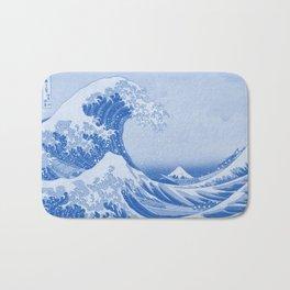 Cerulean Blue Porcelain Glaze Japanese Great Wave Bath Mat