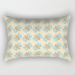 Cute Bumblebees Pattern over Yellow Background Rectangular Pillow