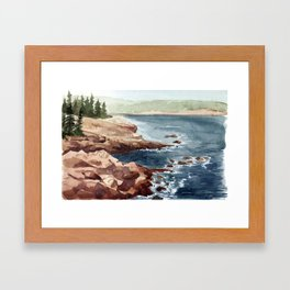 Acadia Coastline Framed Art Print