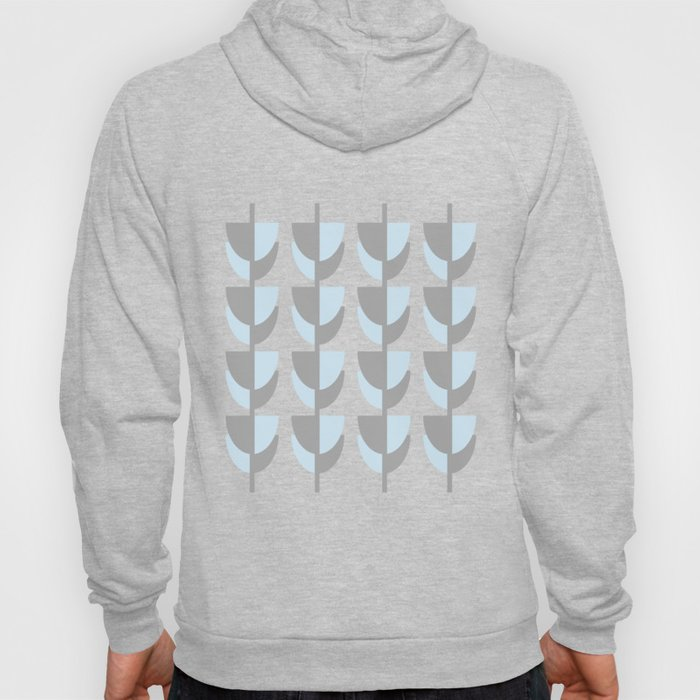 Tulips In Spring Time - Grey and Blue on White - Spring Time Series Hoody