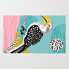 What - memphis tropical retro neon throwback 1980s 80s style hipster abstract bird vacation nature Rug