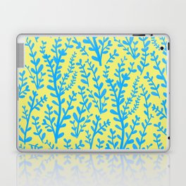 Yellow and Blue Floral Leaves Gouache Pattern Laptop & iPad Skin
