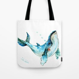 Humpback Whale Artwork Children Illustration Cute little Whale Tote Bag
