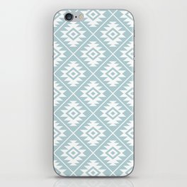 Aztec Symbol Ptn White on Duck Egg Blue iPhone Skin