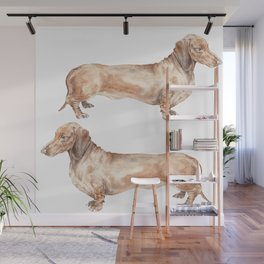 A long dog: Dachshund doxie puppy dog watercolor pet portrait Wall Mural