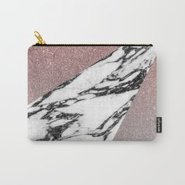 Silver Rose Gold Glitter and Marble Geometric Pattern Carry-All Pouch