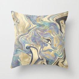 Liquid Gold Mermaid Sea Marble Throw Pillow