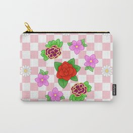 Pixel Flower Pattern Carry-All Pouch