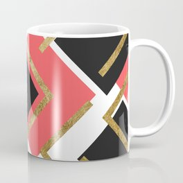 Chic Coral Pink Black and Gold Square Geometric Coffee Mug