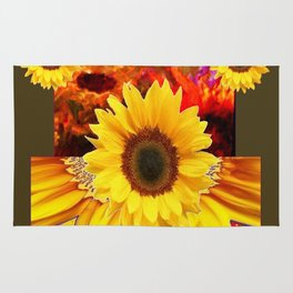 KHAKI COLOR MODERN YELLOW SUNFLOWERS ABSTRACT Rug