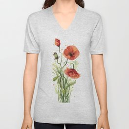 Red Poppies Watercolor Flower Floral Art Unisex V-Neck