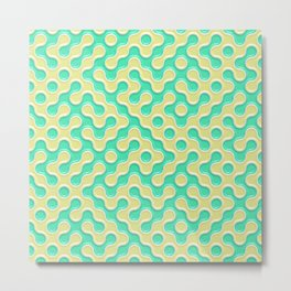 Yellow Deep Sea Green Truchet Tilling Pattern Metal Print