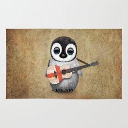 Baby Penguin Playing English Flag Guitar Rug