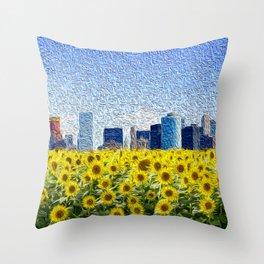 New York City Skyline Oil Paint View from Sunflower Field Throw Pillow
