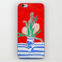 Protea Still Life in Red and Delft Blue iPhone Skin