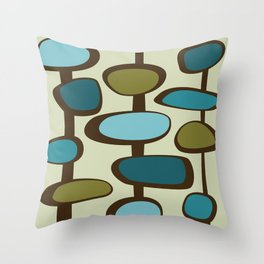 Mid Century Modern Baubles (teal) Throw Pillow