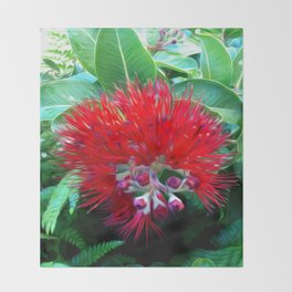 Liko Lehua - Budding Lehua Blossom Throw Blanket