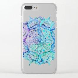 Iridescent Aqua and Purple Watercolor Mandala Clear iPhone Case