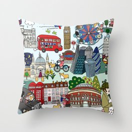 Queen's London Day Out Throw Pillow