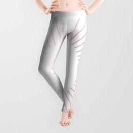 Sunburst Rose Quartz Elegance on White Leggings