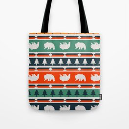 Winter bears and trees Tote Bag