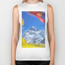 Summit of mount Everest or Chomolungma - highest mountain in the world, view from Kala Patthar,Nepal Biker Tank