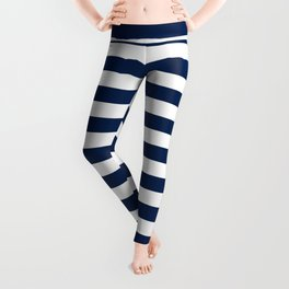 Slate blue and White Thin Stripes - Navy Nautical Pattern Leggings