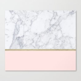 Marble Gold Blush Pink Pattern Canvas Print