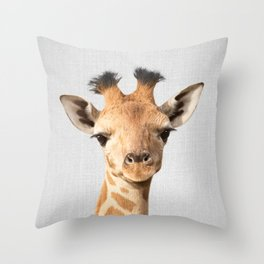 Baby Giraffe - Colorful Throw Pillow